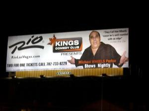 Michael Wheels Parise billboard on Rio RD. and Flamingo Wheels Live at the King's Room